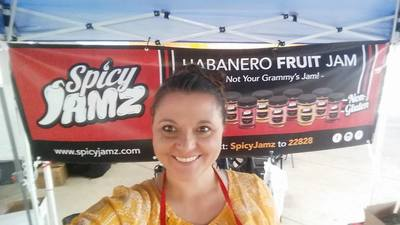 Joanna at the first market at the City of Loveland Famers Market at Fairgrounds Park