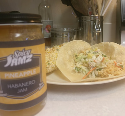 Pineapple Spicy Jamz Cole Slaw with Fish Taco